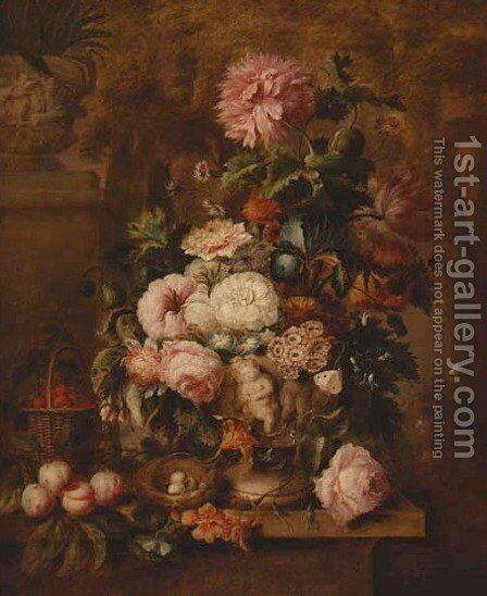 Roses, carnations, tulips, narcissi, morning glory and other flowers in an urn, with peaches by (after) Georgius Van Os - Reproduction Oil Painting