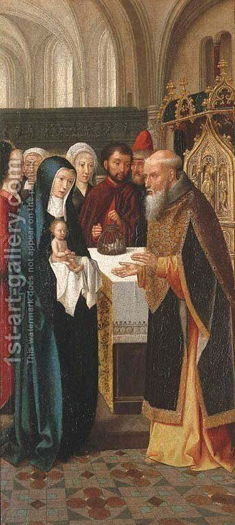 The Presentation in the Temple wings from an altarpiece by (after) Gerard David - Reproduction Oil Painting