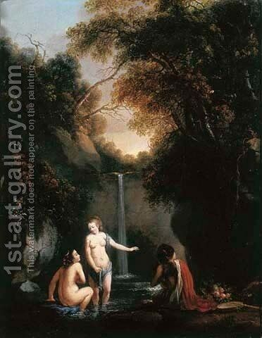 A wooded landscape with nymphs bathing by a waterfall by (after) Gerard De Lairesse - Reproduction Oil Painting