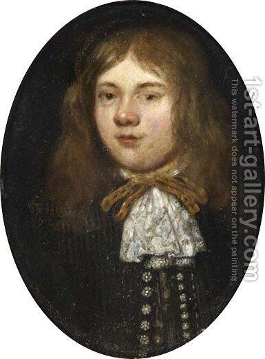 A Portrait Of A Young Gentleman, Bust Length, Wearing A Brown Coat With A White Lace Scarf by (after) Gerard Ter Borch - Reproduction Oil Painting