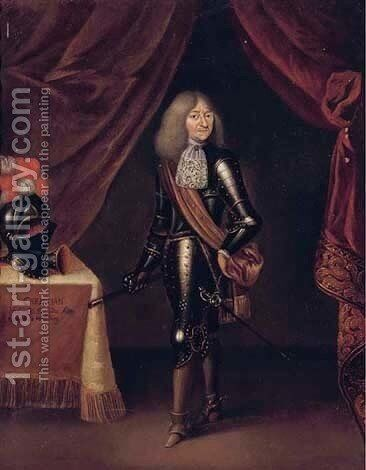 Portrait of Duke Christian I of Sachsen-Merseburg (b. 1615) by (after) Gerard Terborch - Reproduction Oil Painting