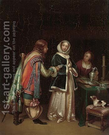 Ladies in an interior receiving a letter from a gentleman caller by (after) Gerard Terborch - Reproduction Oil Painting