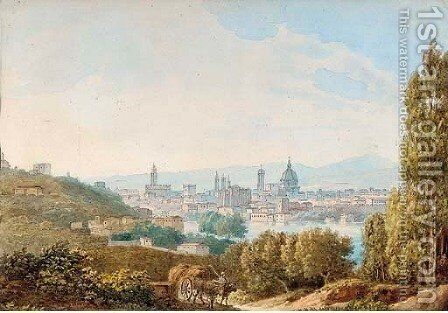 Florence from the side of the St. Nicholas Gate by (after) Giacinto Gigante - Reproduction Oil Painting
