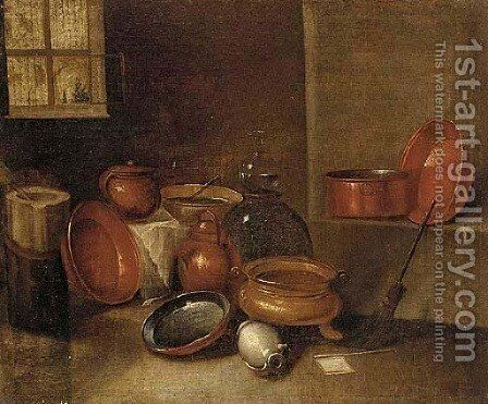 Copper pots, earthenware jugs, a mortar and pestle, and a decanter in an interior by (after) Gian Domenico Valentino - Reproduction Oil Painting