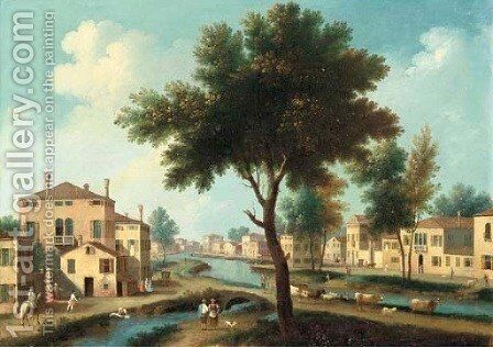 An Italianate landscape with figures and cattle in a town on a canal by (after) Gianbattista Cimaroli - Reproduction Oil Painting