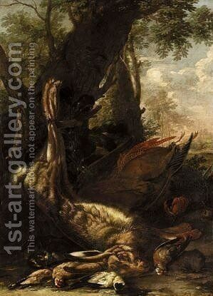Still lif with dead birds 1 by (after) Giovanni B. (Il Genvovese) Castello - Reproduction Oil Painting