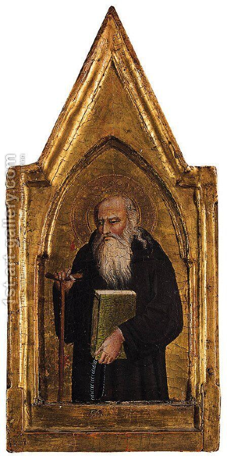 Saint Anthony Abbot a pinnacle of an altarpiece by (after) Giovanni Bonsi - Reproduction Oil Painting