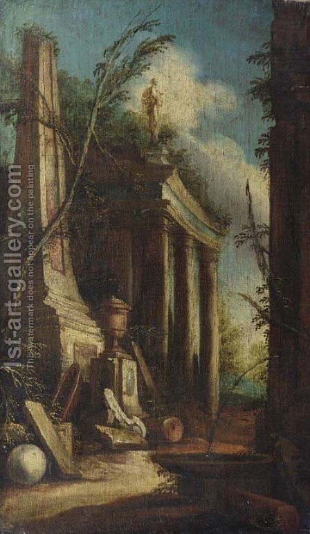A capriccio of classical ruins with a fountain before a colonnade by (after) Giovanni Ghisolfi - Reproduction Oil Painting