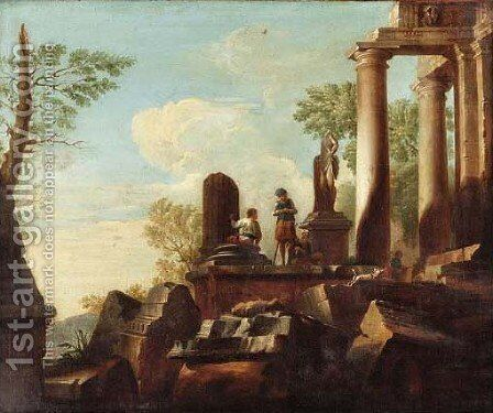 Capricci of Roman ruins with figures resting 2 by (after) Giovanni Paolo Panini - Reproduction Oil Painting
