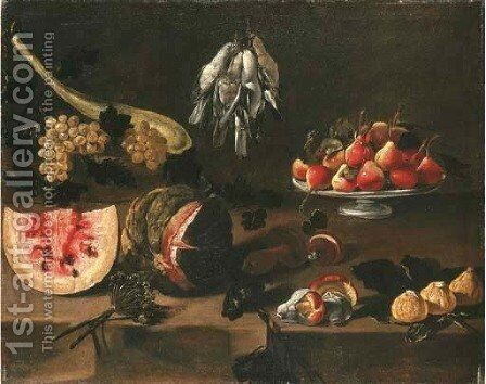 Watermelons, grapes, mushrooms, figs, and a platter of fruit on a table ledge with songbirds suspended from string by (after) Giovanni Quinsa - Reproduction Oil Painting