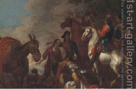 Cavalrymen after a battle by (after) Giovanni Tuccari - Reproduction Oil Painting