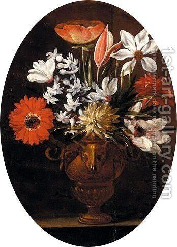 Still Life Of Various Flowers In A Bronze Vase Decorated With Bucrania, On A Stone Ledge by (after) Giuseppe Recco - Reproduction Oil Painting