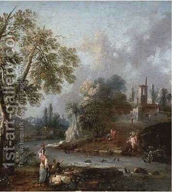 A river landscape with a woman and a boy on a bank, a town beyond by (after) Giuseppe Zais - Reproduction Oil Painting
