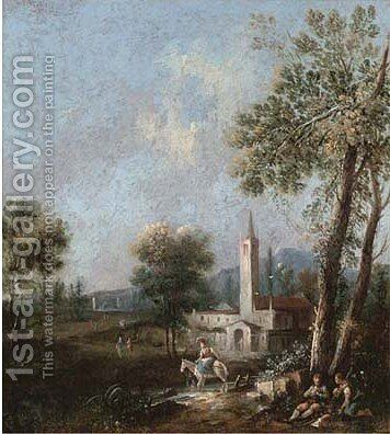 An extensive wooded landscape with a woman on a horse crossing a stream by (after) Giuseppe Zais - Reproduction Oil Painting