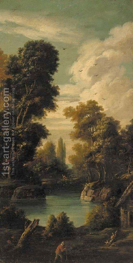 Peasants at a pond in a landscape by (after) Giuseppe Zias - Reproduction Oil Painting