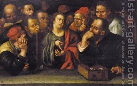Christ Preaching In The Temple by (after) Hans Hoffmann - Reproduction Oil Painting