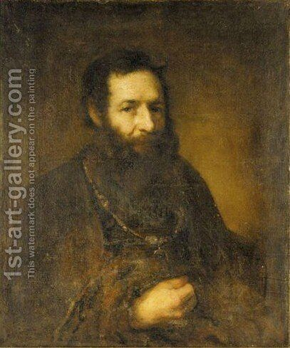 Portrait Of A Bearded Gentleman by (after) Harmenszoon Van Rijn Rembrandt - Reproduction Oil Painting