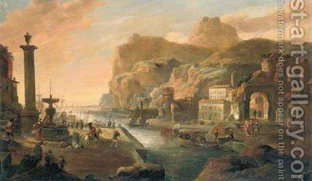 Italiante capriccio landscapes by (after) Hendrick Danckerts - Reproduction Oil Painting