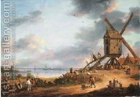 A river landscape with a windmill by (after) Hendrik Keun - Reproduction Oil Painting