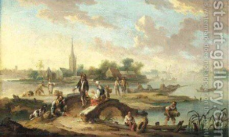 A landscape with figures crossing a bridge by a ferry stop by (after) Hendrik Van Anthonissen - Reproduction Oil Painting