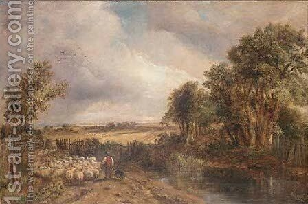 Driving the flock out to pasture by (after) Henry John Boddington - Reproduction Oil Painting