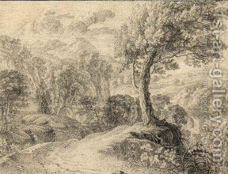 A Mountainous Landscape With A Tree In The Foreground by (after) Herman Van Swanevelt - Reproduction Oil Painting