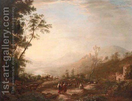 A wooded landscape with a shepherd and his flock and other figures by (after) Herman Van Swanevelt - Reproduction Oil Painting