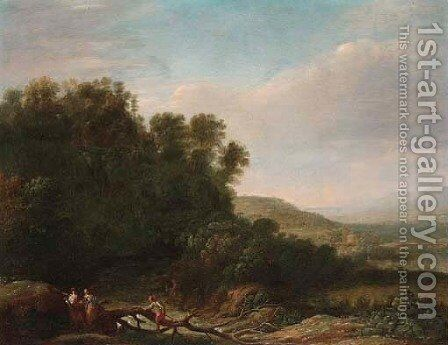 A wooded river landscape with figures crossing the river by (after) Herman Van Swanevelt - Reproduction Oil Painting