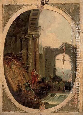 A capriccio of anglers at a river by classical ruins by (after) Hubert Robert - Reproduction Oil Painting