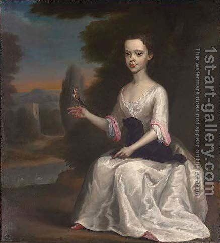 Portrait of a young girl, traditionally identified as Esther Turpin by (after) Isaac Whood - Reproduction Oil Painting