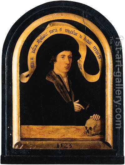 Portrait of a gentleman, standing small half length, wearing a black fur-lined jacket with lace chemise by (after) Jacob Claesz. Van Utrecht - Reproduction Oil Painting