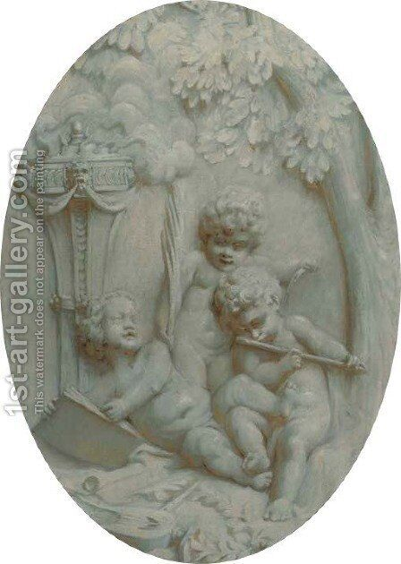 Putti making music by (after) Jacob De Wit - Reproduction Oil Painting