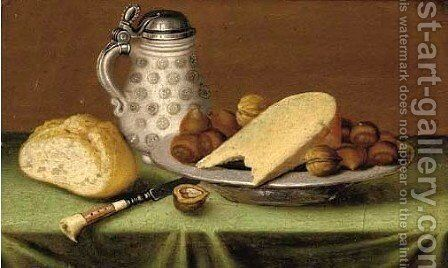 An earthenware tankard, a bread roll, a pewter dish of hazlet by (after) Jacob Fopsen Van Es - Reproduction Oil Painting