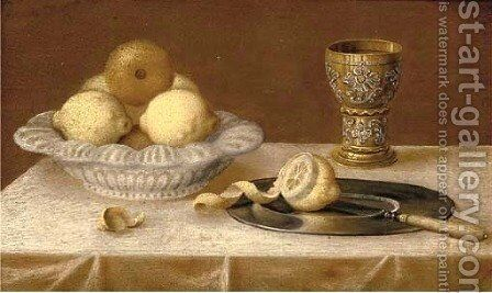 Lemons in an earthenware dish, a silver gilt goblet, a pewter plate on a draped table by (after) Jacob Fopsen Van Es - Reproduction Oil Painting