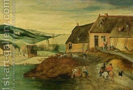 Autumn A Landscape With Men Repairing A Thatched Roof Of A Farm, Two Horsemen In The Foreground by (after) Jacob Grimmer - Reproduction Oil Painting