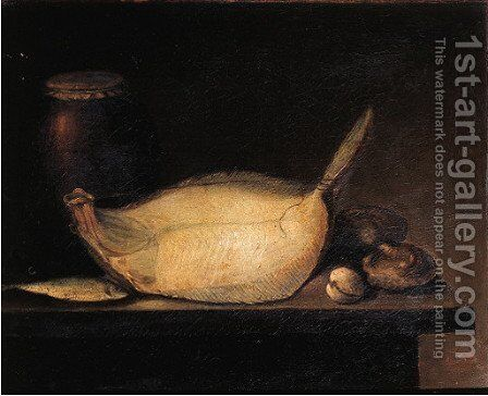 A turbot, a sardine, oysters, mussels and a stone ware jug on a stone ledge by (after) Jacob Samuel Beck - Reproduction Oil Painting
