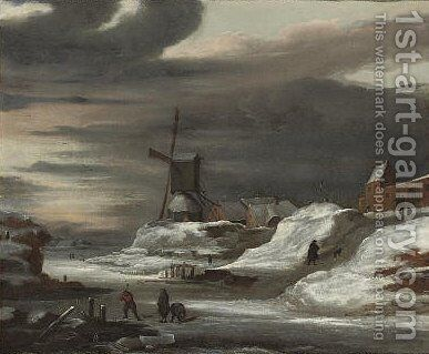 A frozen river landscape with figures resting by a track, a windmill beyond by (after) Jacob Van Ruisdael - Reproduction Oil Painting