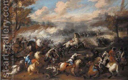 A battle between Christians and Turks in an extensive landscape by (after) Jacques (Le Bourguignon) Courtois - Reproduction Oil Painting
