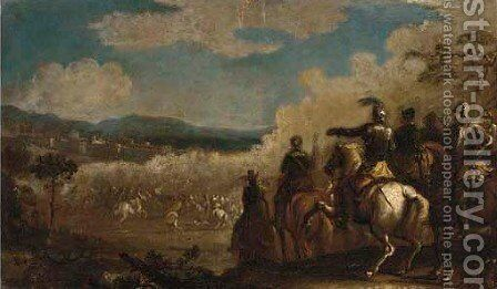 A battle with a cavalry charge in the foreground by (after) Jacques (Le Bourguignon) Courtois - Reproduction Oil Painting