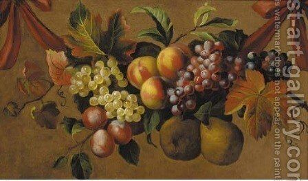 A swag of grapes, pears, plums and peaches by (after) Jakob Bogdani - Reproduction Oil Painting