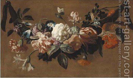 A swag of roses, tulips, carnations, morning glory, and other flowers by (after) Jakob Bogdani - Reproduction Oil Painting