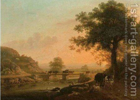An Italianate river landscape with a drover leading cattle over a bridge by (after) Jakob Philipp Hackert - Reproduction Oil Painting