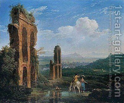 Italianate Landscape With A Washerwoman And A Rider Near A Roman Aqueduct by (after) Jakob Philippe Hackert - Reproduction Oil Painting