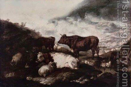 Cattle and sheep resting in a rural landscape by (after) James Ward - Reproduction Oil Painting