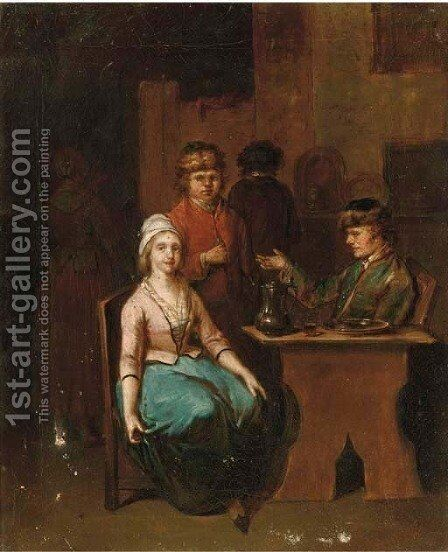A woman and two men in an inn by (after) Jan Baptist Lambrechts - Reproduction Oil Painting
