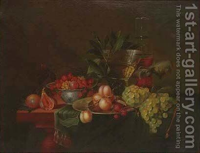 Figs, cherries, redcurrants, peaches, raspberries, grapes and a roemer, on a table by (after) Jan Davidsz De Heem - Reproduction Oil Painting