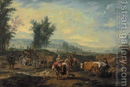 Travellers with mules and drovers with cattle by (after) Jan Frans Soolmaker - Reproduction Oil Painting