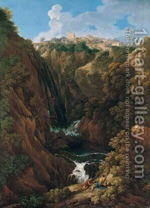 A Classical Landscape With Shepherds Beside A Waterfall, Said To Be A View Of Tivoli by (after) Jan Frans Van Orizzonte (see Bloemen) - Reproduction Oil Painting