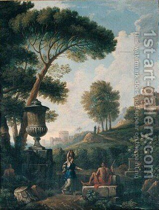 A Classical Landscape With Figures Resting By A Stream by (after) Jan Frans Van Orizzonte (see Bloemen) - Reproduction Oil Painting