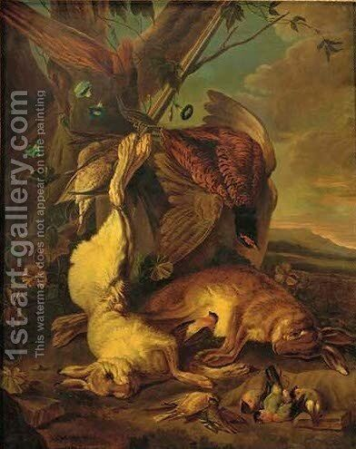 Dead hares, pheasant and song birds in a wooded clearing by (after) Jan Fyt - Reproduction Oil Painting